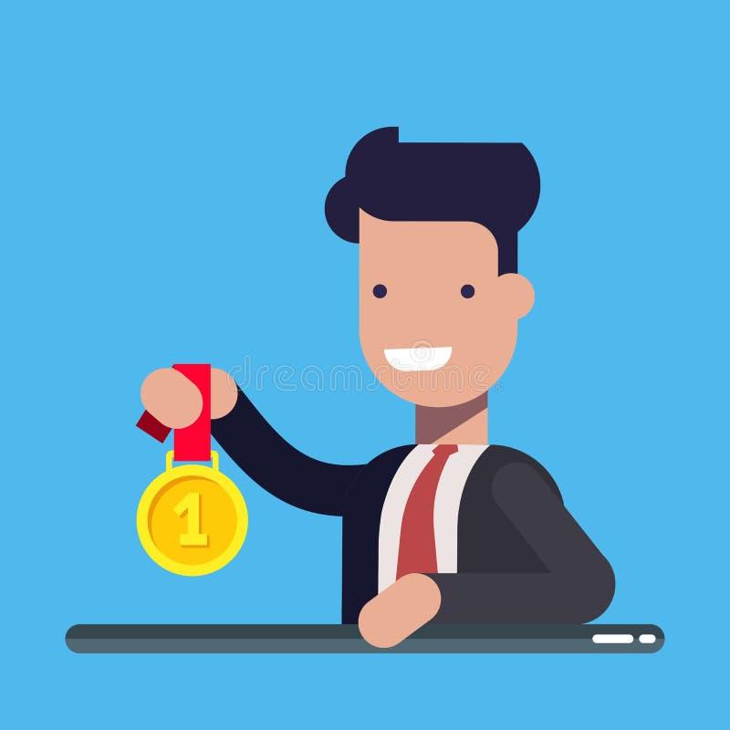 Homem de negócios ou gerente novo com a medalha de ouro Conceito do negócio e da finança Ilustração lisa do vetor isolada sobre ilustração stock