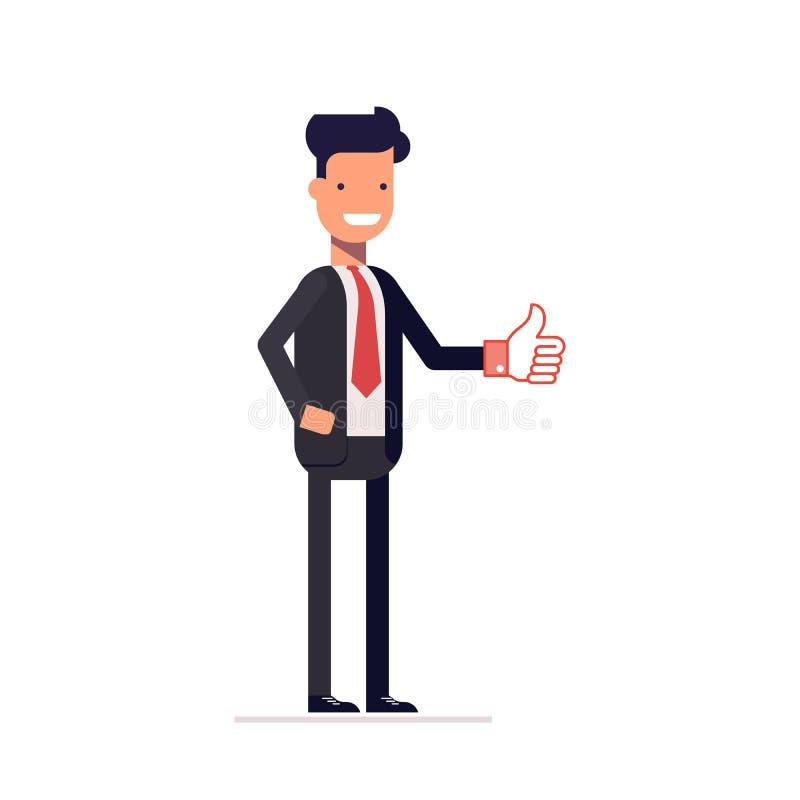 Homem de negócios ou gerente que mostram os polegares acima O homem em um terno de negócio aprova a proposta Caráter feliz Vetor ilustração do vetor
