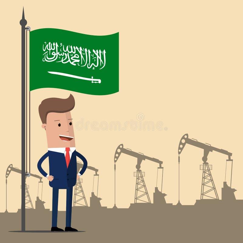 Homem de negócios ou político sob a bandeira de Arábia Saudita contra o contexto das bombas de óleo Ilustração do vetor ilustração do vetor