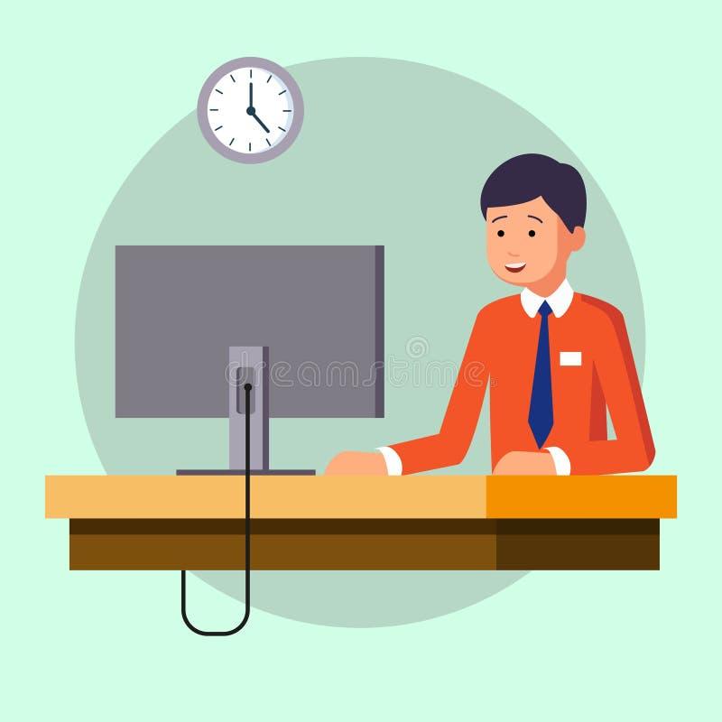 Homem de negócios ou um caixeiro que trabalha em sua mesa de escritório ilustração moderna do vetor do estilo liso ilustração stock