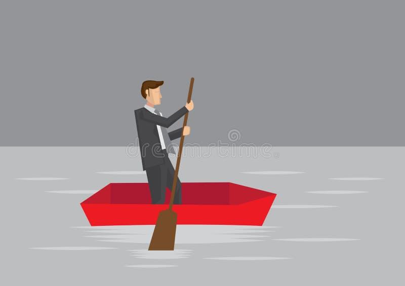 Homem de negócios Paddling no bote ilustração do vetor