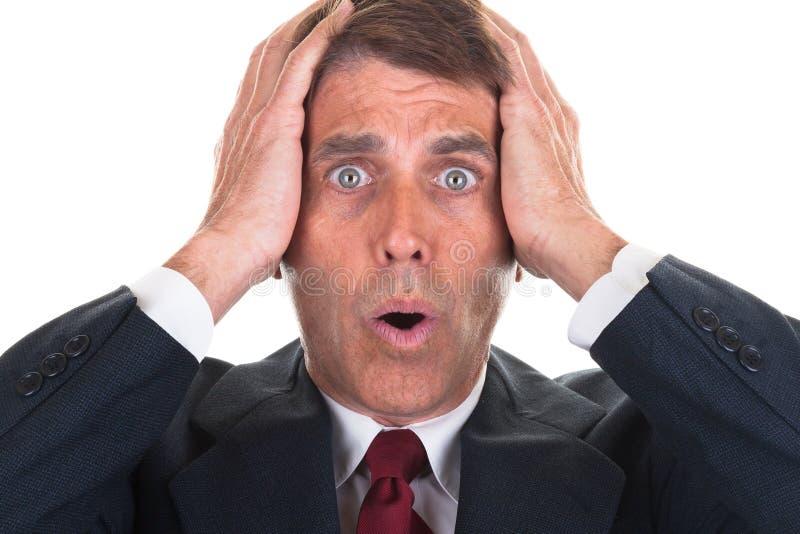 Homem de negócios para fora Freaked imagem de stock royalty free