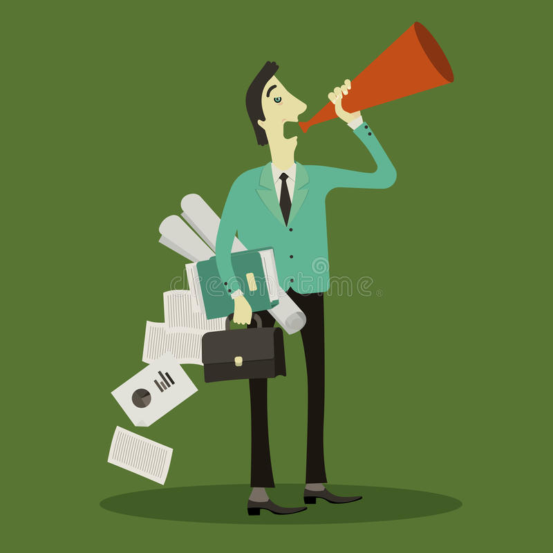 Homem de negócios para transmitir uma conversa ilustração royalty free