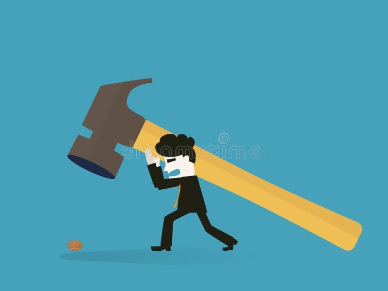 Homem de negócios para usar um malho para rachar uma noz ilustração do vetor