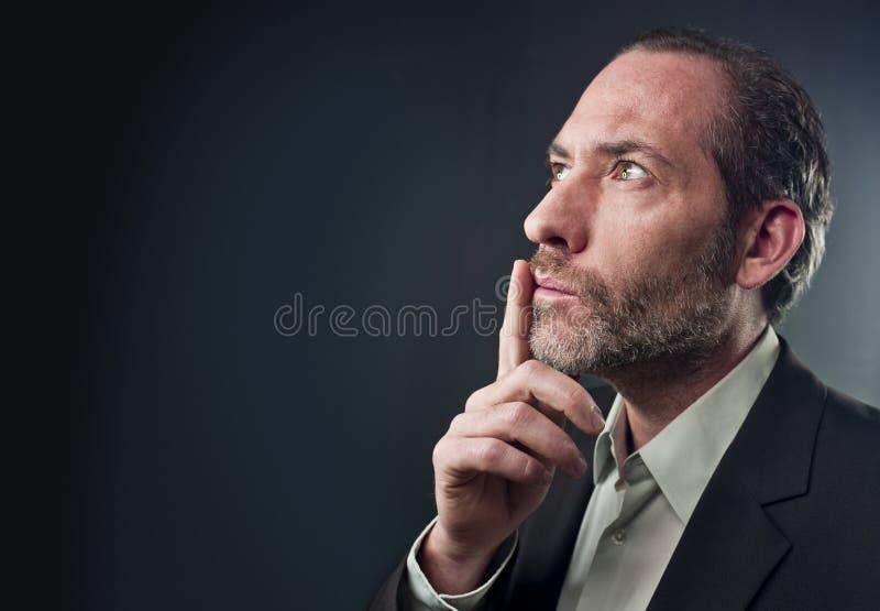 Homem de negócios pensativo imagem de stock