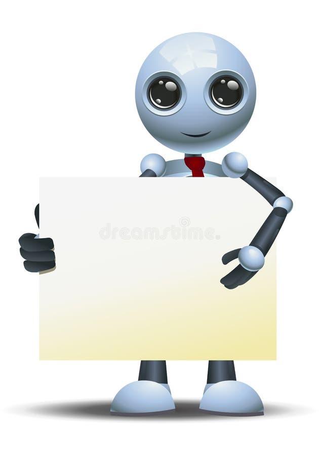 Homem de negócios pequeno do robô que aponta a placa do sinal ilustração royalty free