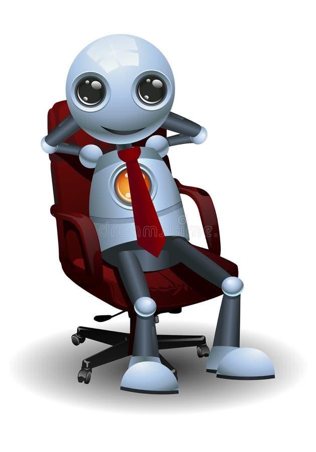 Homem de negócios pequeno do robô do sucesso no fundo branco isolado ilustração royalty free