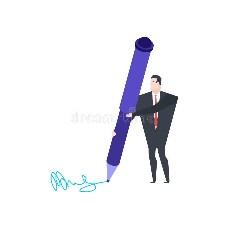 Homem de negócios pequeno e pena grande Escreva a assinatura para originais ilustração royalty free