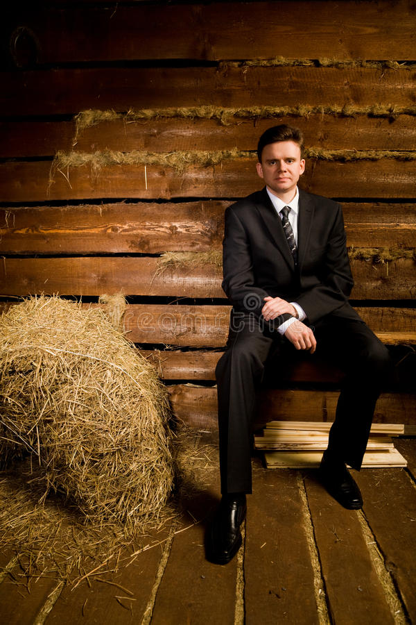 Homem de negócios perto do monte de feno na cabana de madeira do registro fotografia de stock