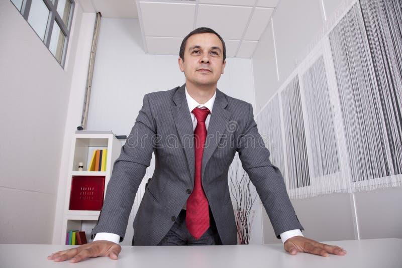Homem de negócios poderoso no escritório imagens de stock royalty free