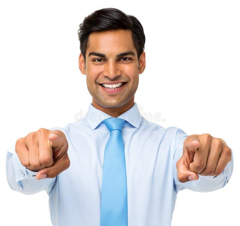Homem de negócios Pointing At You com ambas as mãos foto de stock royalty free