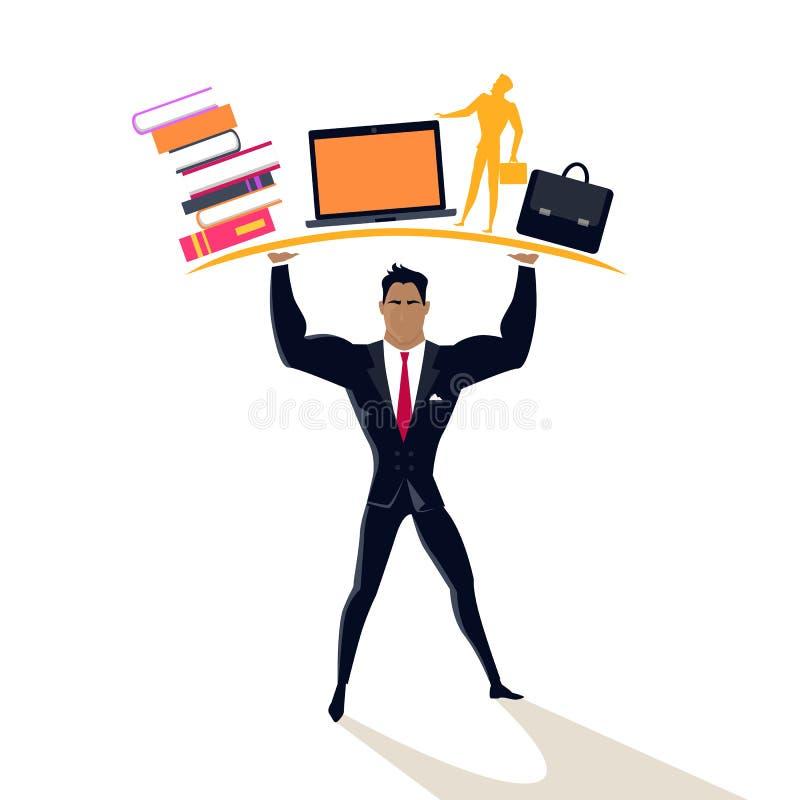 Homem de negócios Posing como o Telamon ilustração royalty free