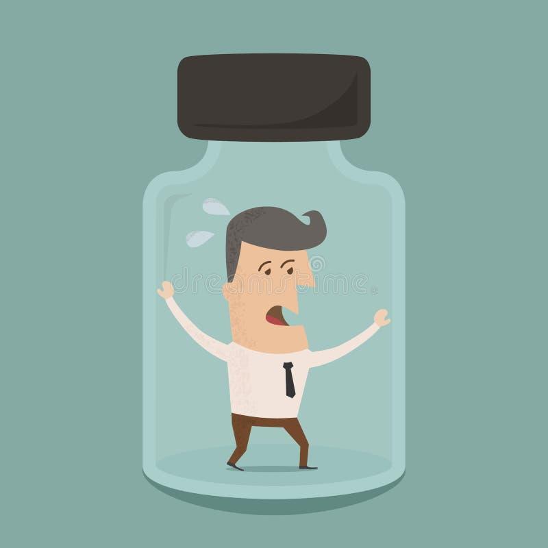 Homem de negócios prendido em um frasco de vidro ilustração stock