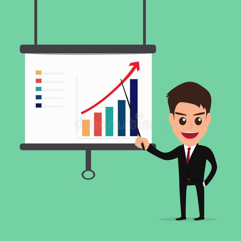 Homem de negócios Presenting e apontar a carta de crescimento do negócio ilustração do vetor