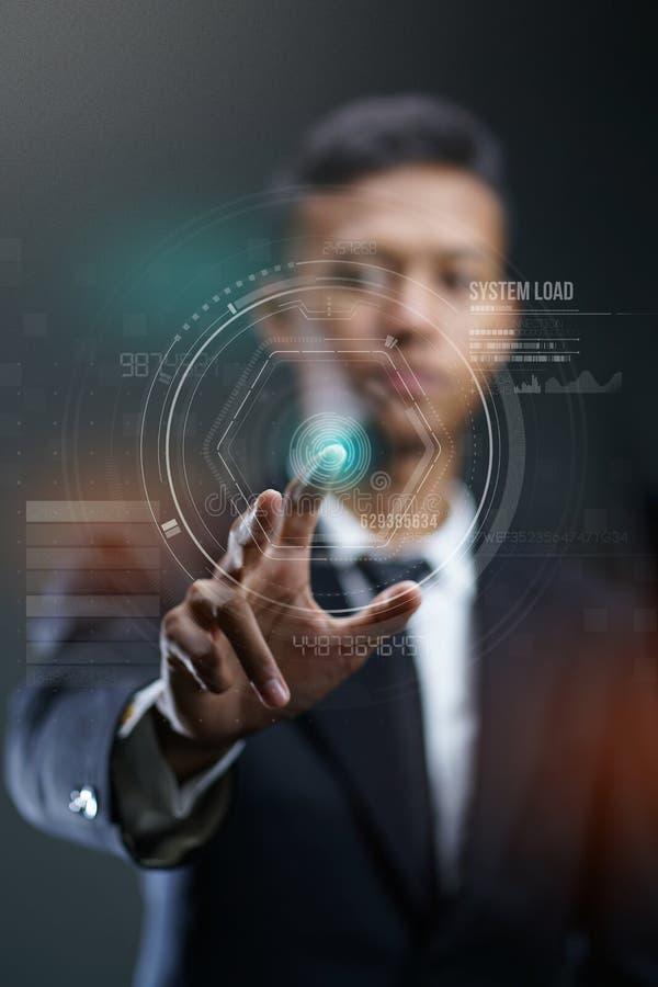 Homem de negócios Pressing Circle HUD Hologram imagem de stock