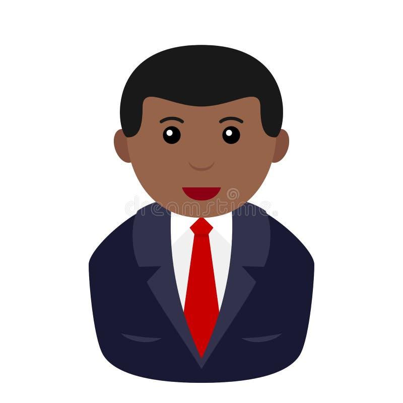 Homem de negócios preto Avatar Flat Icon ilustração stock