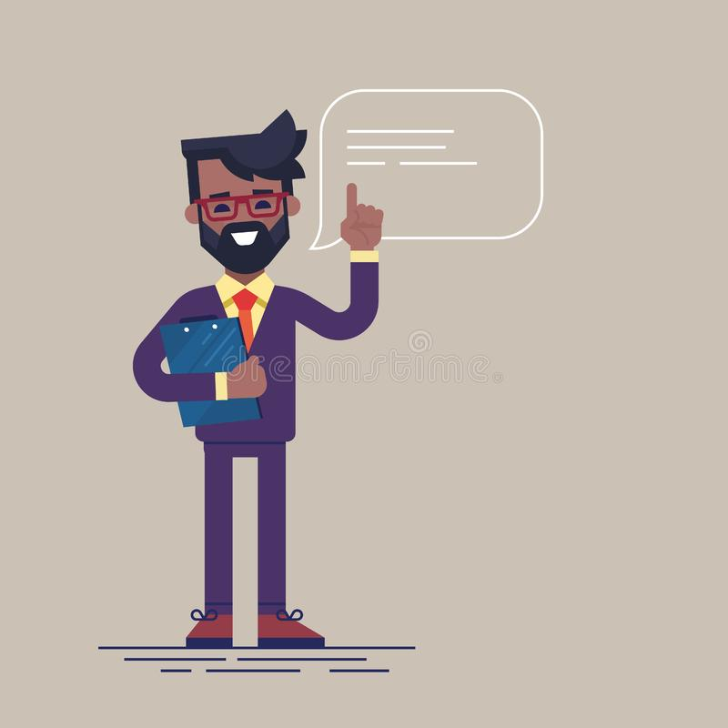 Homem de negócios preto considerável com barba e vidros que aumentam acima seu dedo para dar o conselho ou a recomendação Vetor ilustração stock