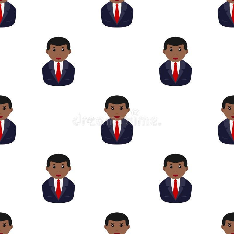 Homem de negócios preto Icon Seamless Pattern ilustração do vetor