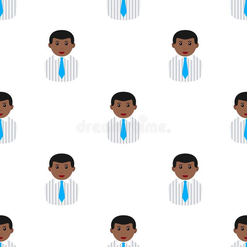 Homem de negócios preto no laço da camisa sem emenda ilustração stock
