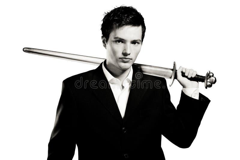 Homem de negócios pronto para a batalha fotografia de stock