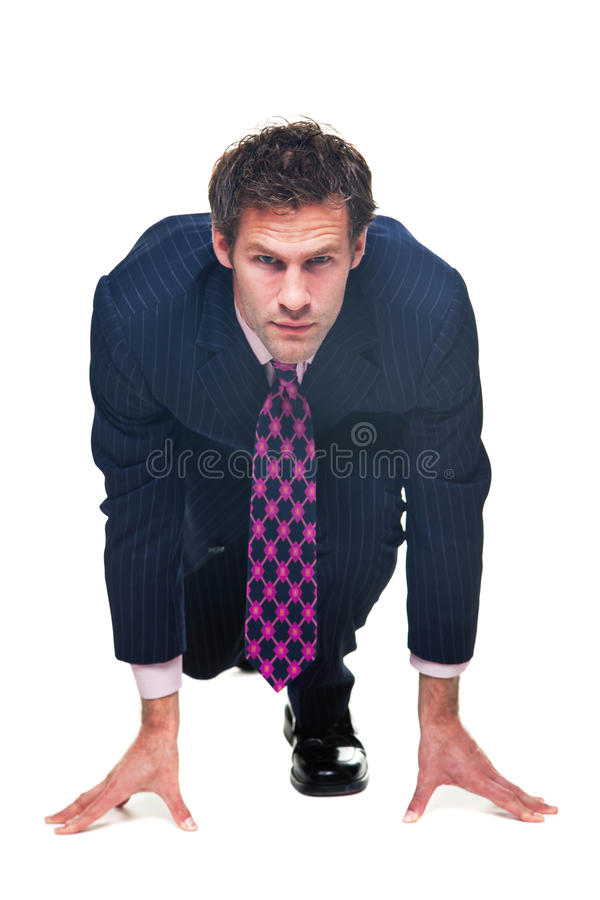 Homem de negócios pronto para competir. fotos de stock royalty free