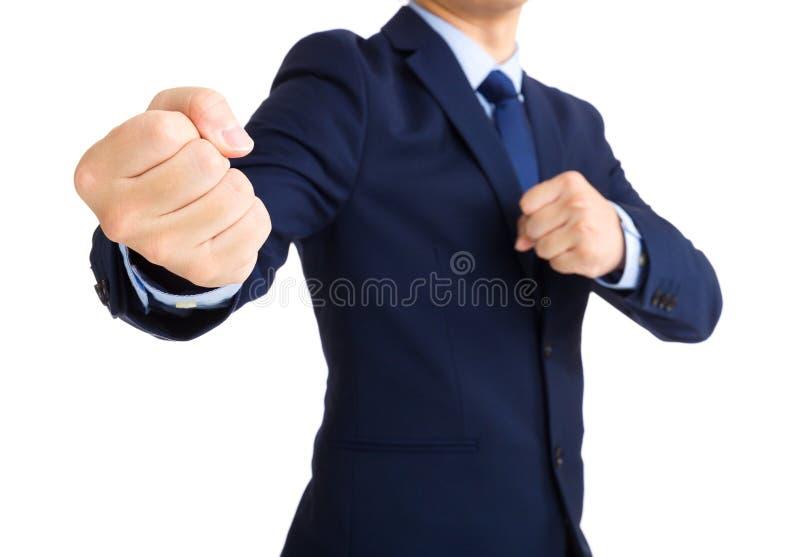Homem de negócios pronto para lutar foto de stock