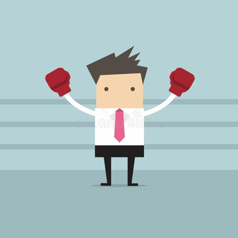 Homem de negócios pronto para lutar em seu negócio com suas luvas de encaixotamento ilustração stock