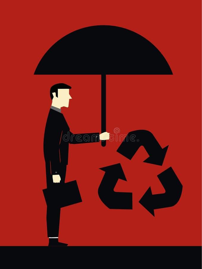 Homem de negócios Protect Ecology ilustração royalty free