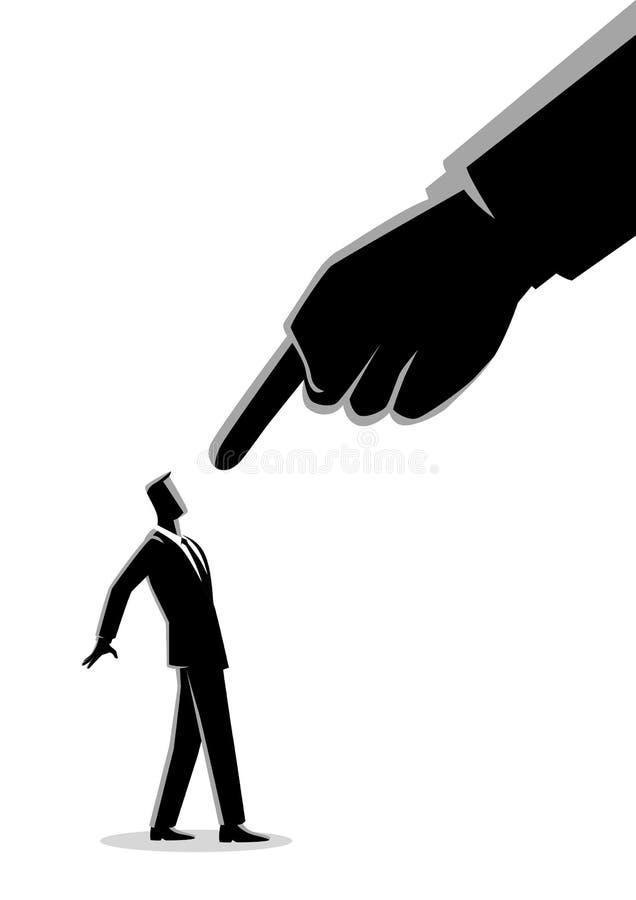 Homem de negócios que é aguçado pelo dedo gigante ilustração stock