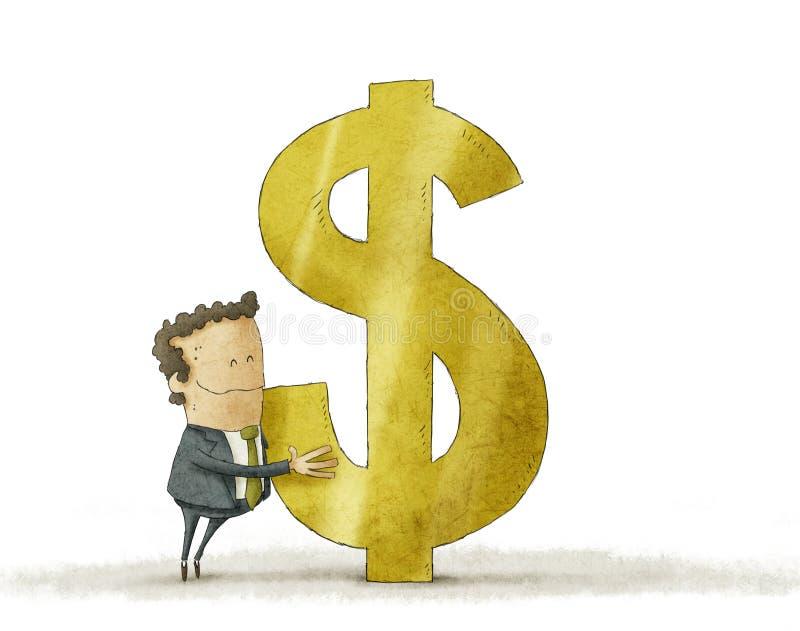Homem de negócios que abraça o sinal de dólar ilustração do vetor