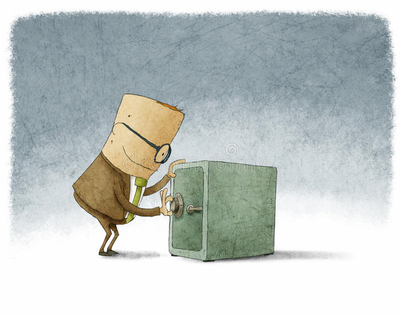 Homem de negócios que abre a combinação segura ilustração do vetor