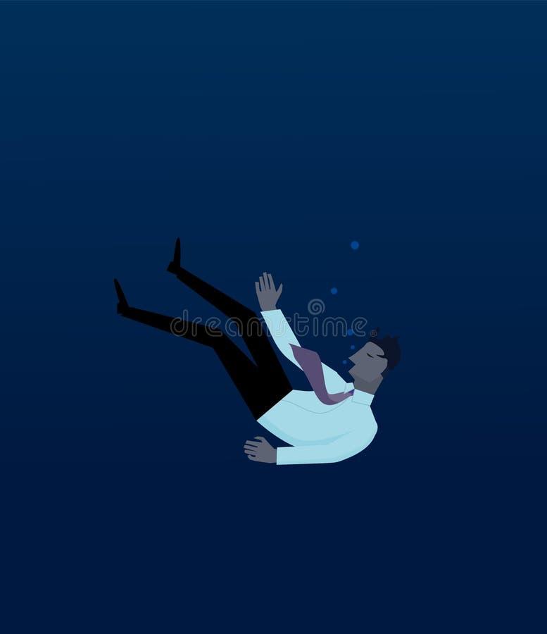 Homem de negócios que afoga-se nas águas profundas fotografia de stock