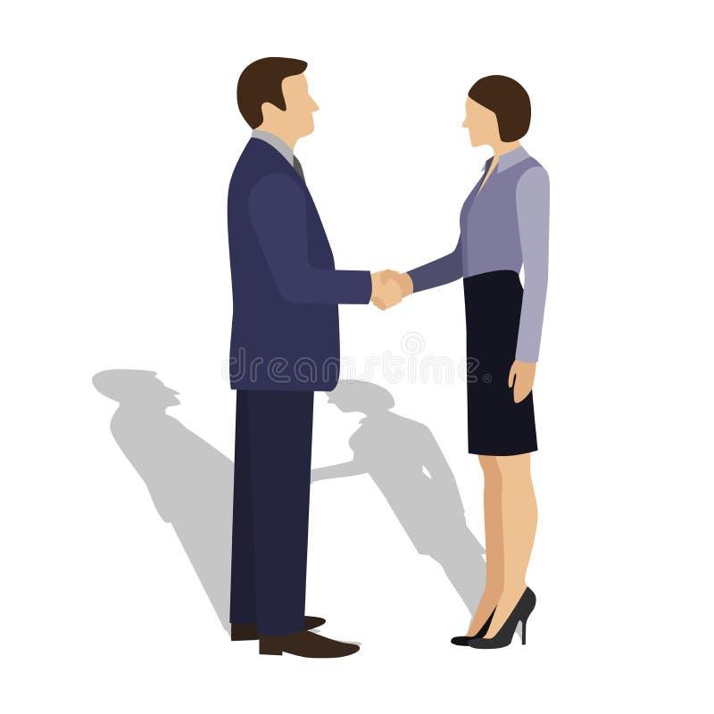 Homem de negócios que agita as mãos com mulher de negócios imagem de stock royalty free