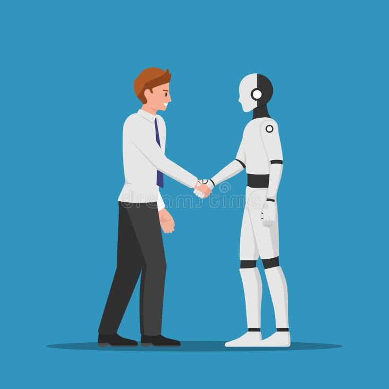 Homem de negócios que agita a mão com robô do AI ilustração royalty free