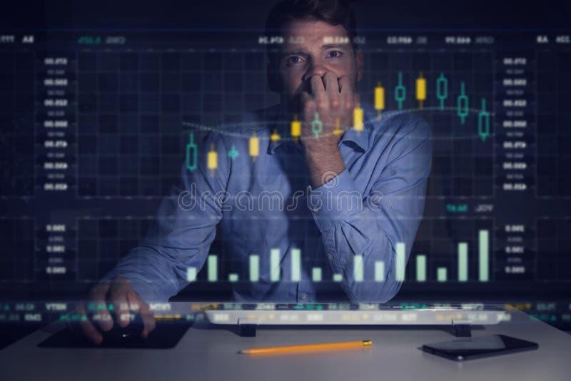 Homem de negócios que analisa gráficos e dados do mercado de valores de ação no computador s fotografia de stock