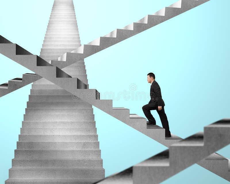 Homem de negócios que anda em escadas do labirinto fotografia de stock