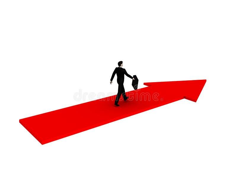 Homem de negócios que anda na seta vermelha ilustração royalty free