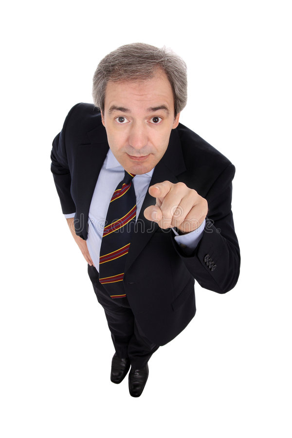 Homem de negócios que aponta seu dedo fotografia de stock