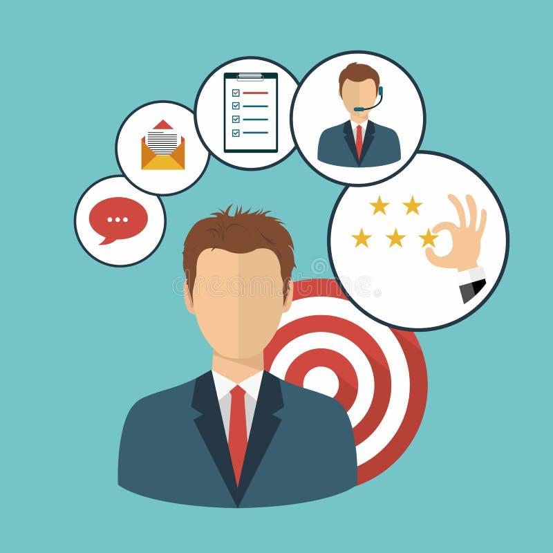 Homem de negócios que apresenta o gerenciamento de relacionamento com o cliente Sistema para interações de controlo com os client ilustração stock