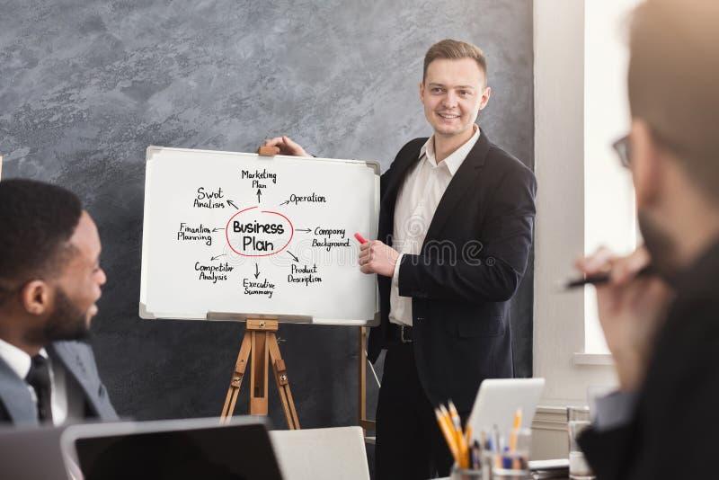 Homem de negócios que apresenta o plano de negócios a seus colegas fotos de stock royalty free