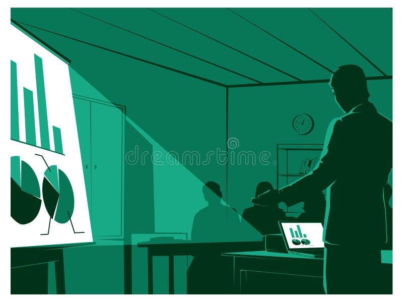 Homem de negócios que apresenta a suas audiências ilustração royalty free
