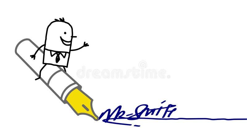 Homem de negócios que assina acima ilustração stock