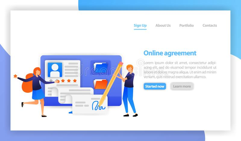 Homem de negócios que assina o acordo de contrato em linha com computador sinal digital esperto do acordo Parceria, negócio, nego ilustração stock