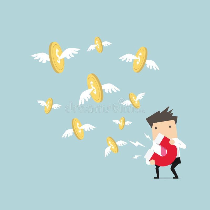 Homem de negócios que atrai a moeda do dólar do ouro com um grande ímã ilustração royalty free