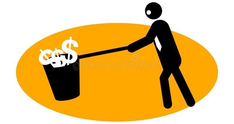 Homem de negócios que coleta o dinheiro ilustração stock