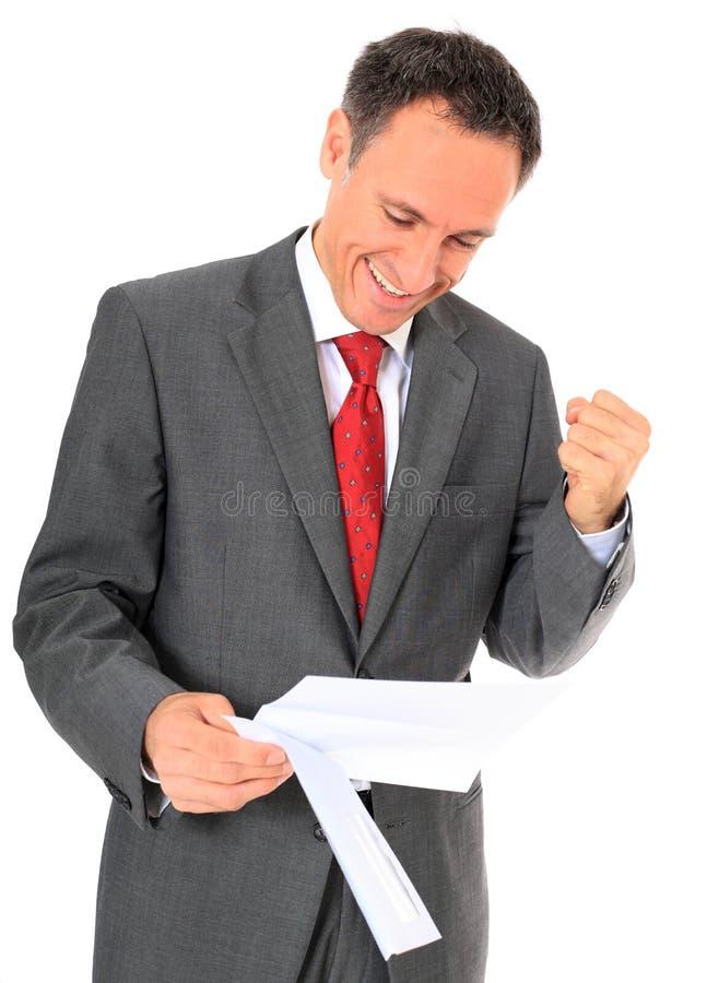 Homem de negócios que começ a boa notícia foto de stock