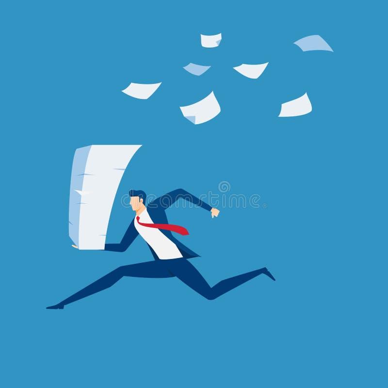 Homem de negócios que corre com a pilha de documento à disposição A pressão de tempo, esforço, sobrecarregou e conceito do fim do ilustração do vetor