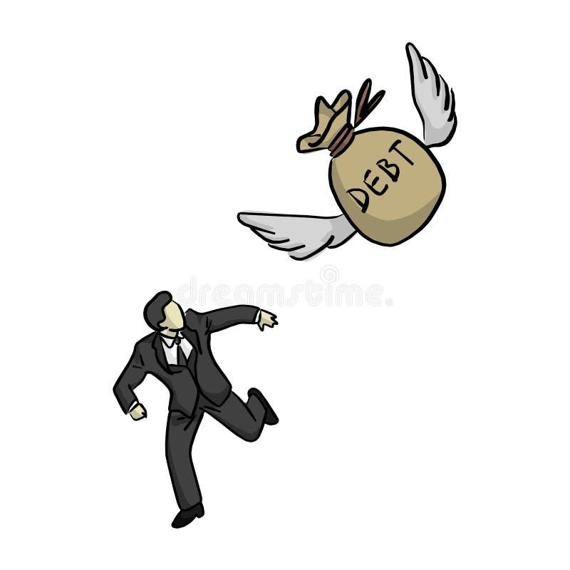 Homem de negócios que corre longe do saco do voo do illustra do vetor do débito ilustração do vetor