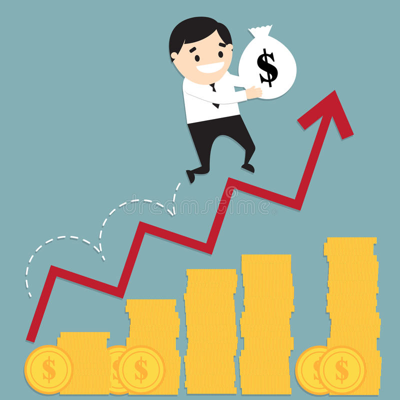 Homem de negócios que corre na carta de barra crescente da moeda e que guarda wi do saco ilustração stock