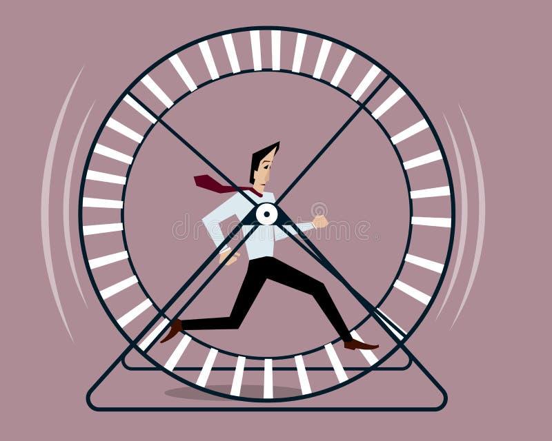 Homem de negócios que corre na roda do hamster ilustração royalty free